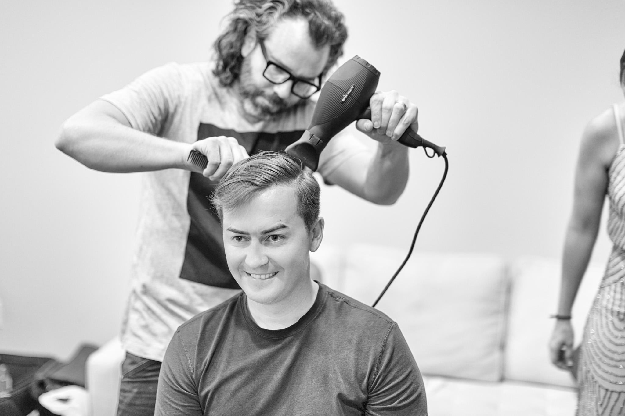 Matt gets his hair done