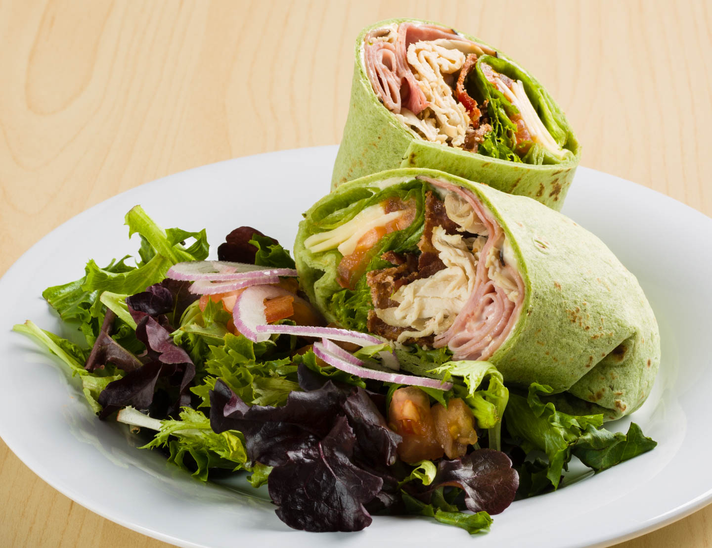 Smokehouse club wrap with bacon