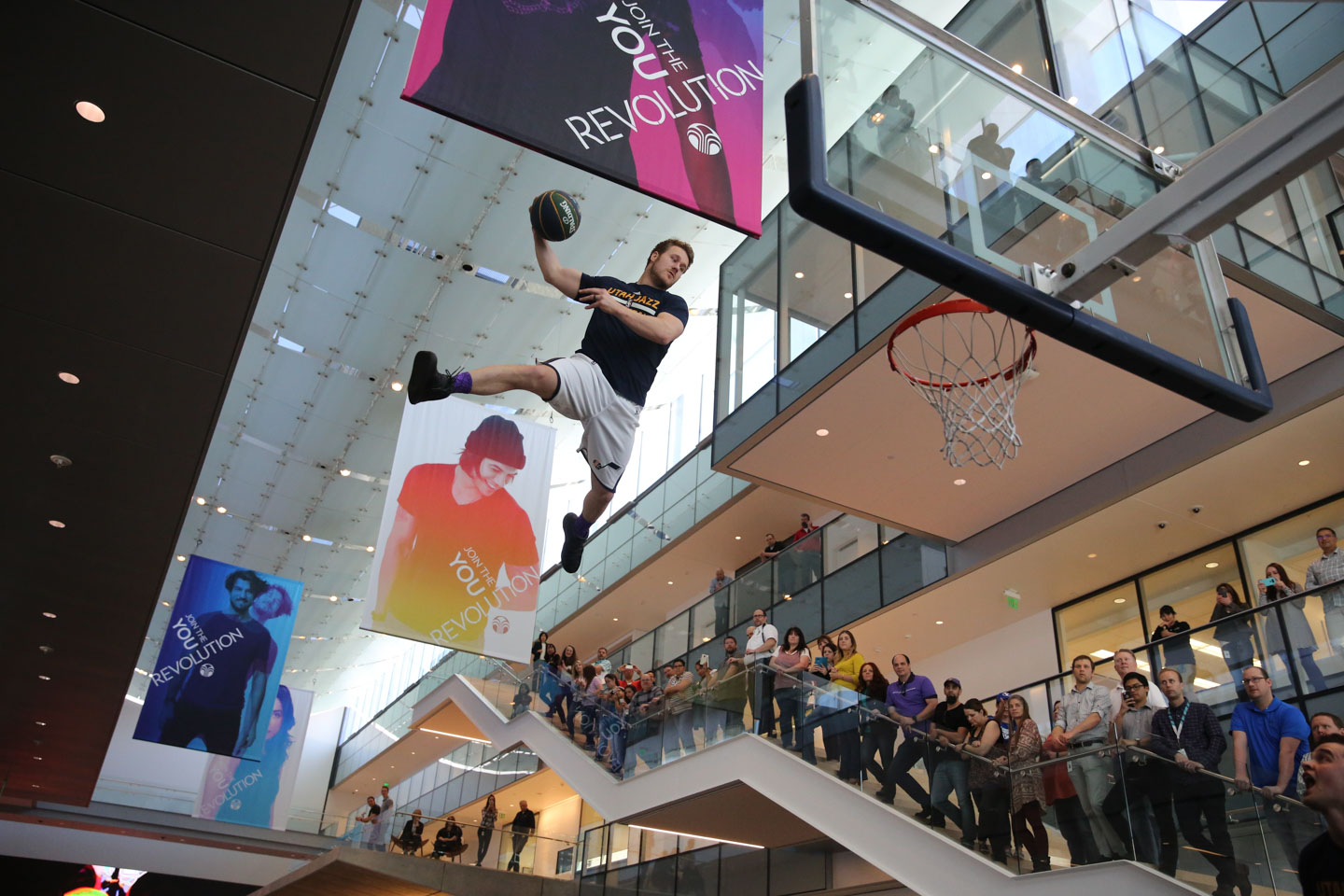 Utah Jazz Dunk Team perform for the employees at Nu Skin
