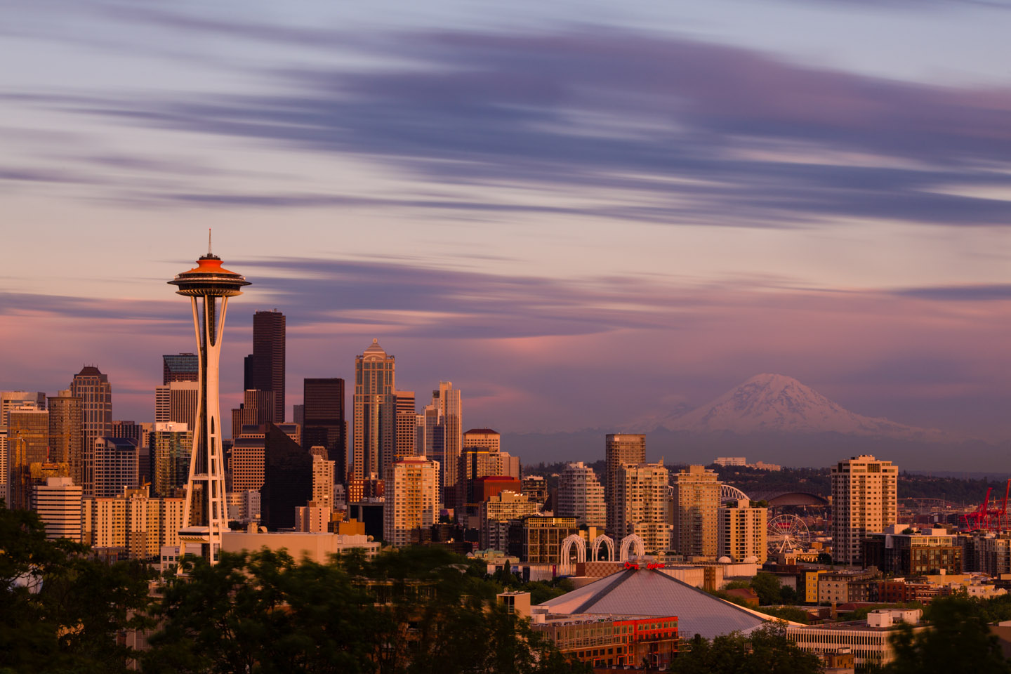 Seattle Space Needle during sunset