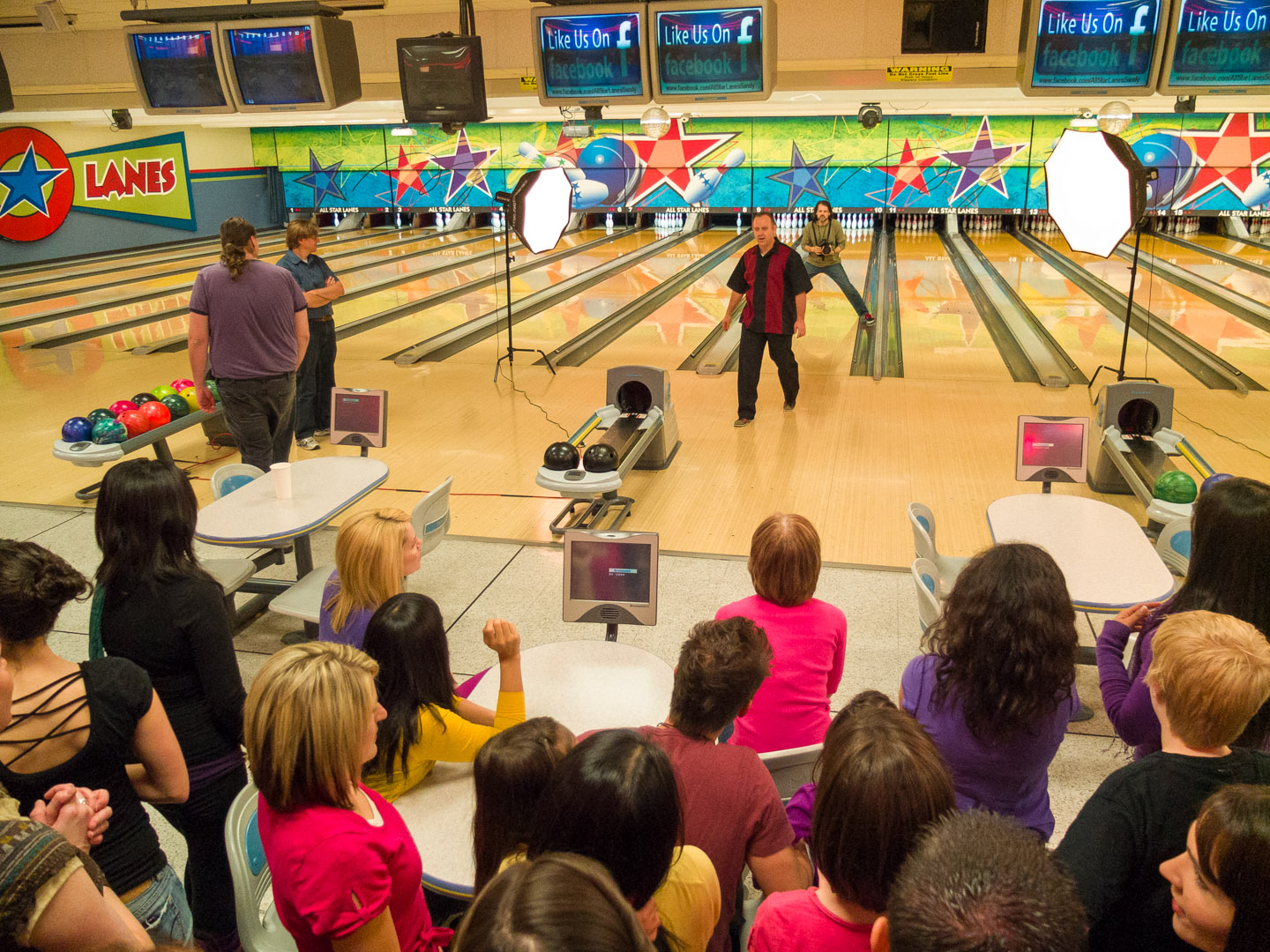 A birds eye view of the bowling shoot