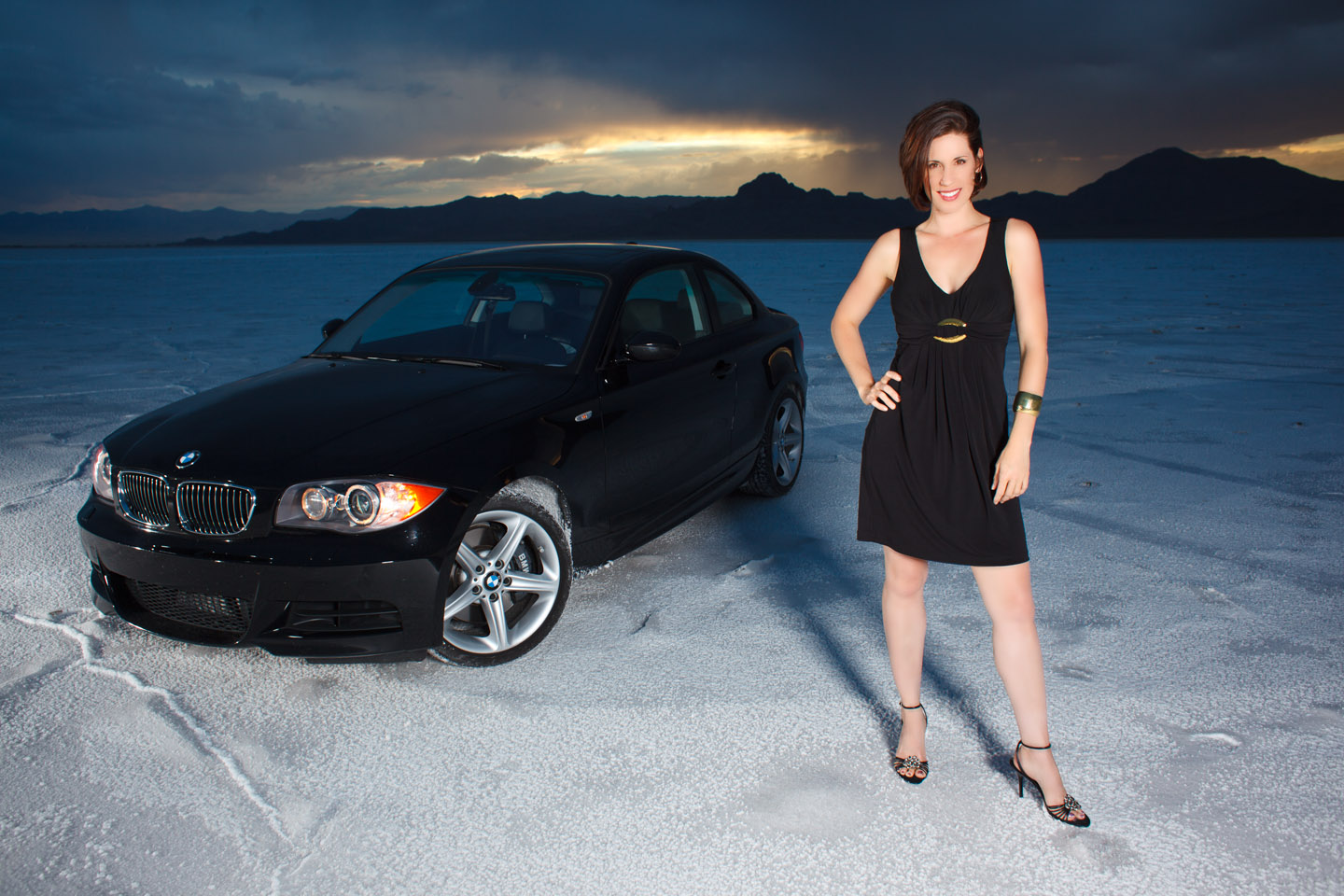 A model and a BMW on the Bonneville Salt Flats