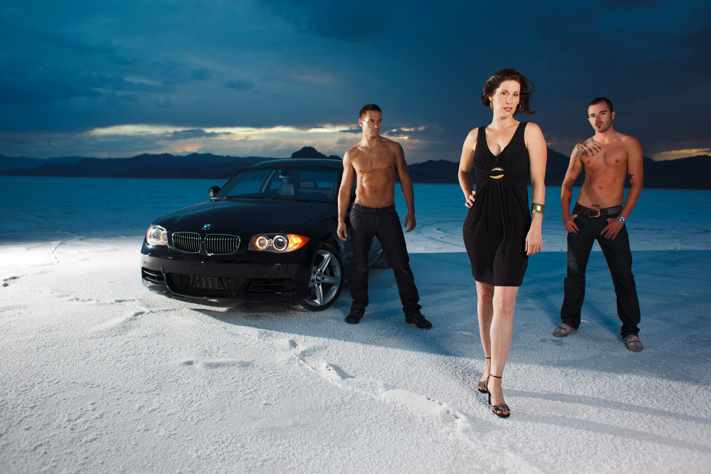 models on the Salt Flats
