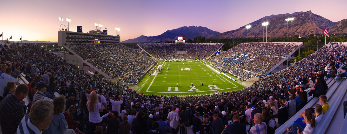 Panorama of LaVell Edwards Stadium at Twilight