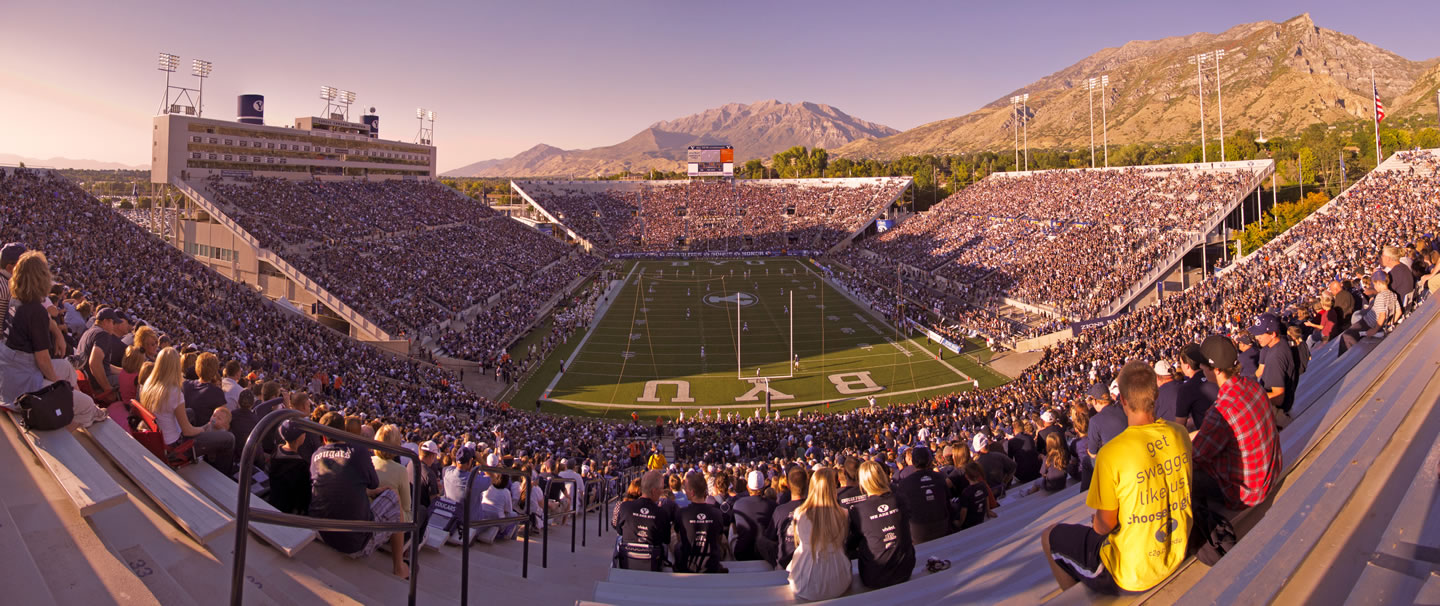 Panorama of LaVell Edwards Stadium at Sunset