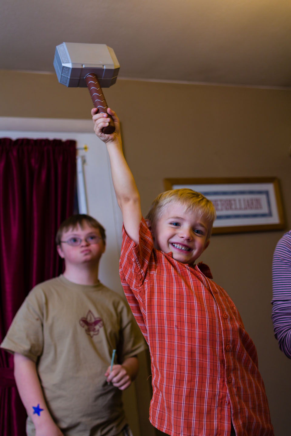 Henry received a Thor hammer, he demonstrates