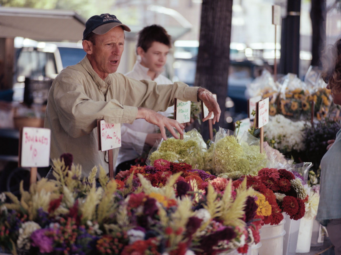 Flower vendors at Salt Lake Farmers Market