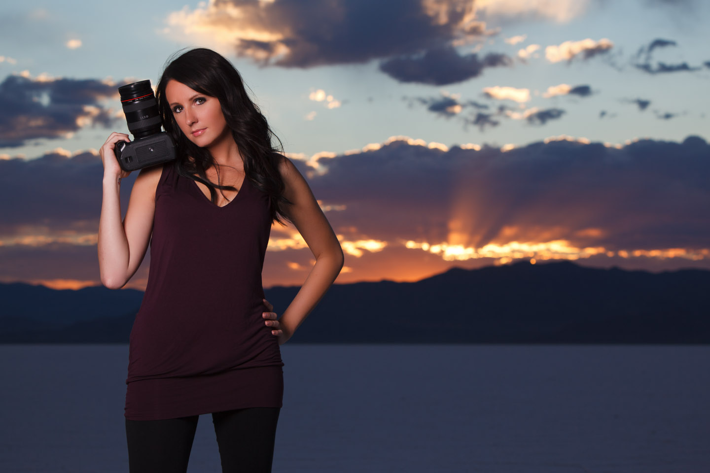Sunset on the Bonneville Salt Flats is perfect for portraits