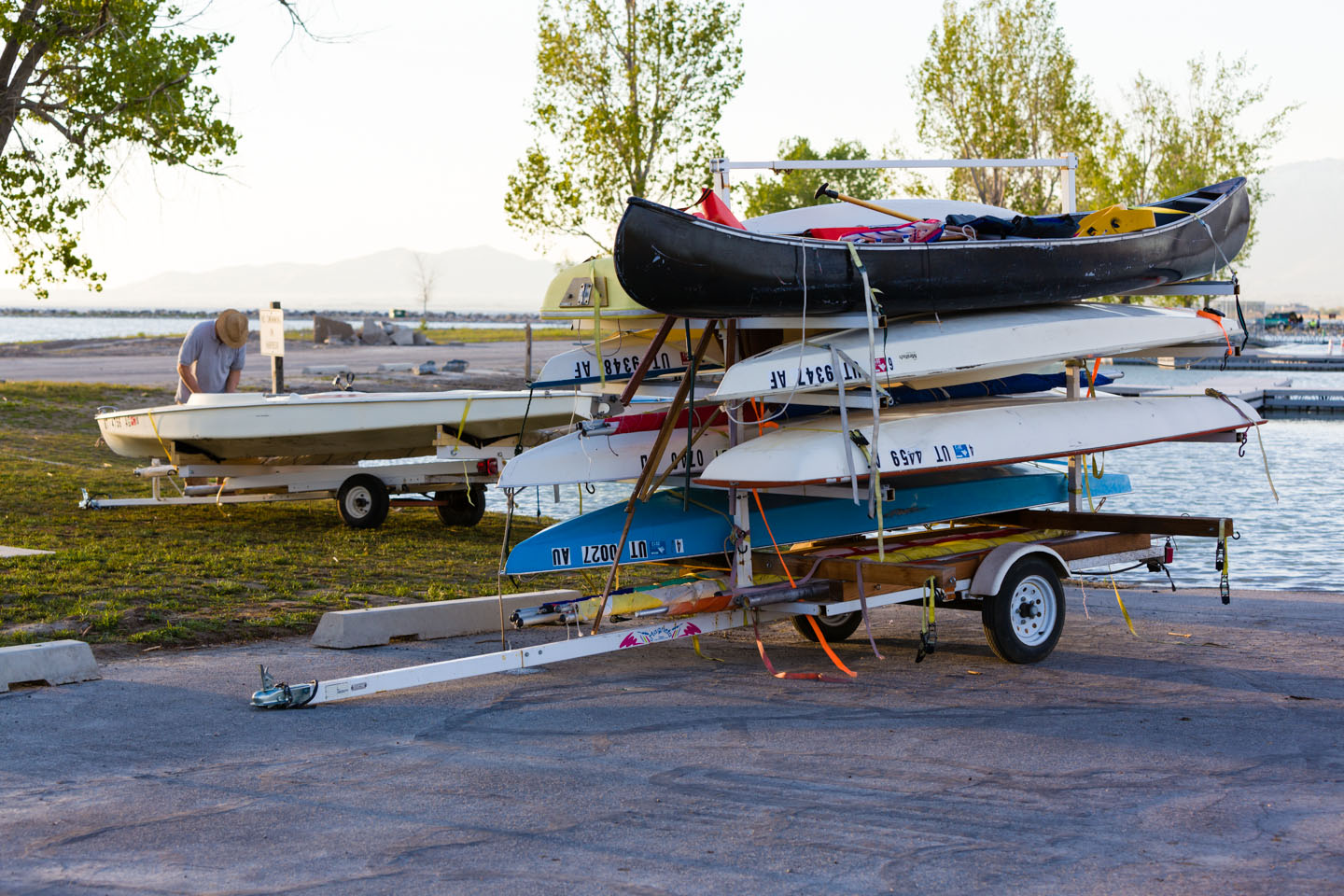 An armada of sailboats packed for travel