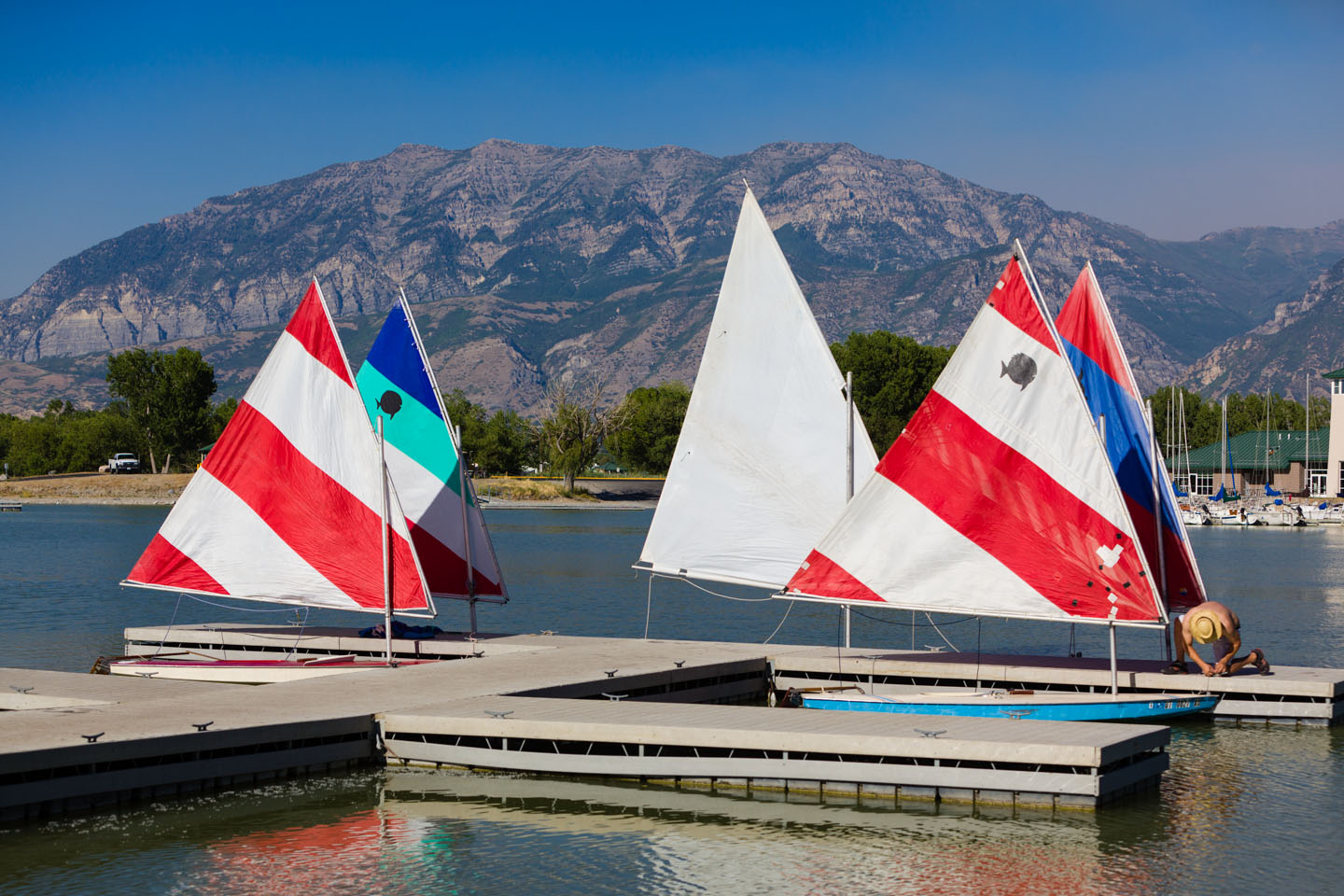Five sailing boats ready to set sail