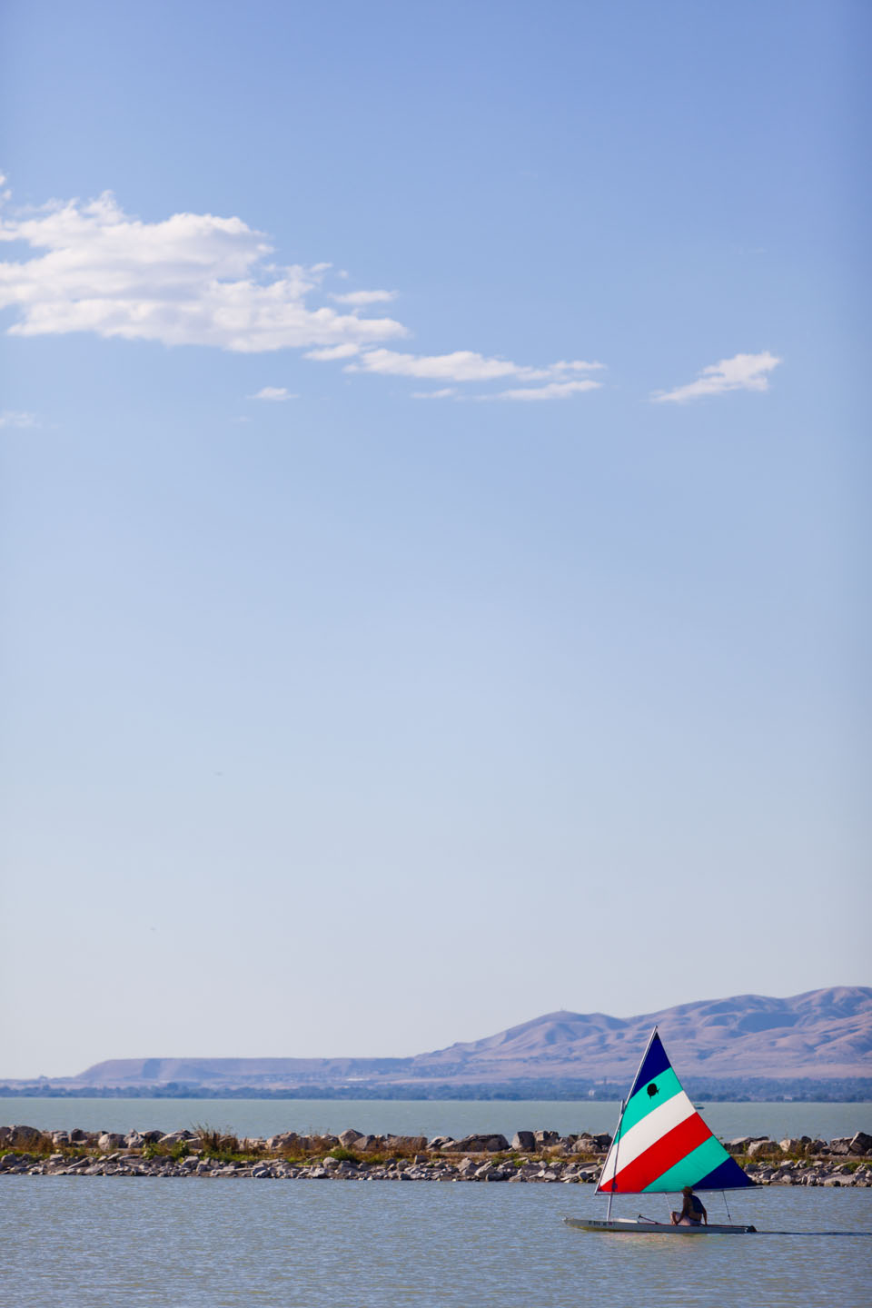 Sail boat crosses Utah Lake