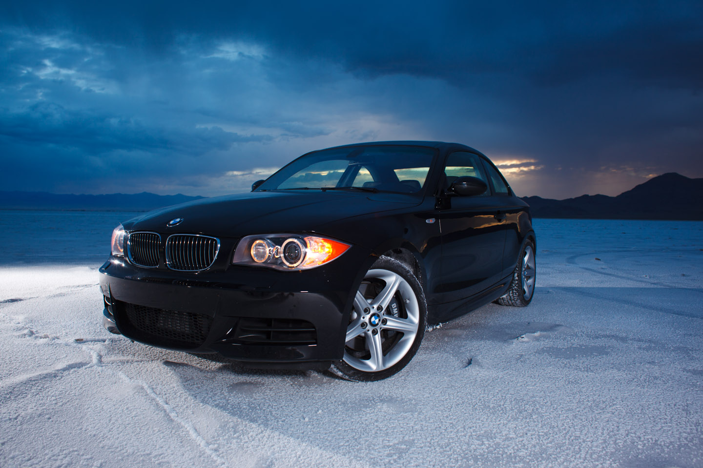 A BMW on the Bonneville Salt Flats