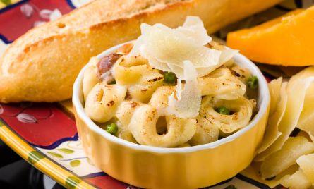 Pasta, parmesan, and bread