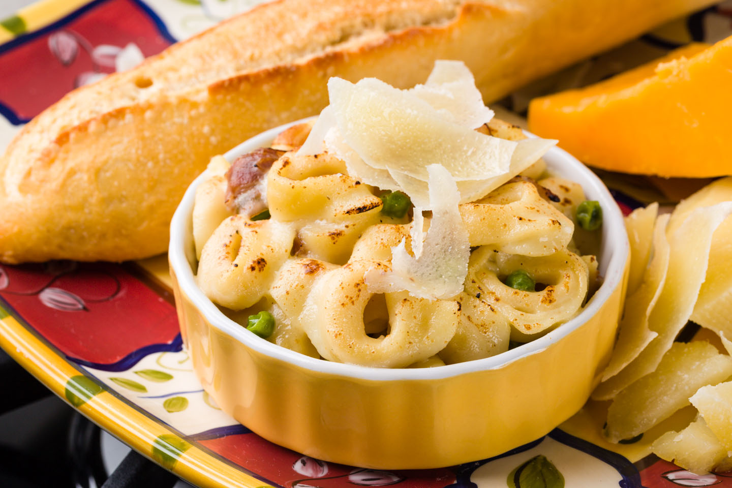 Pasta, parmesan, and bread