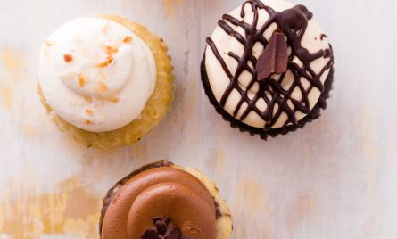 Different compositions of food photography featuring cupcakes
