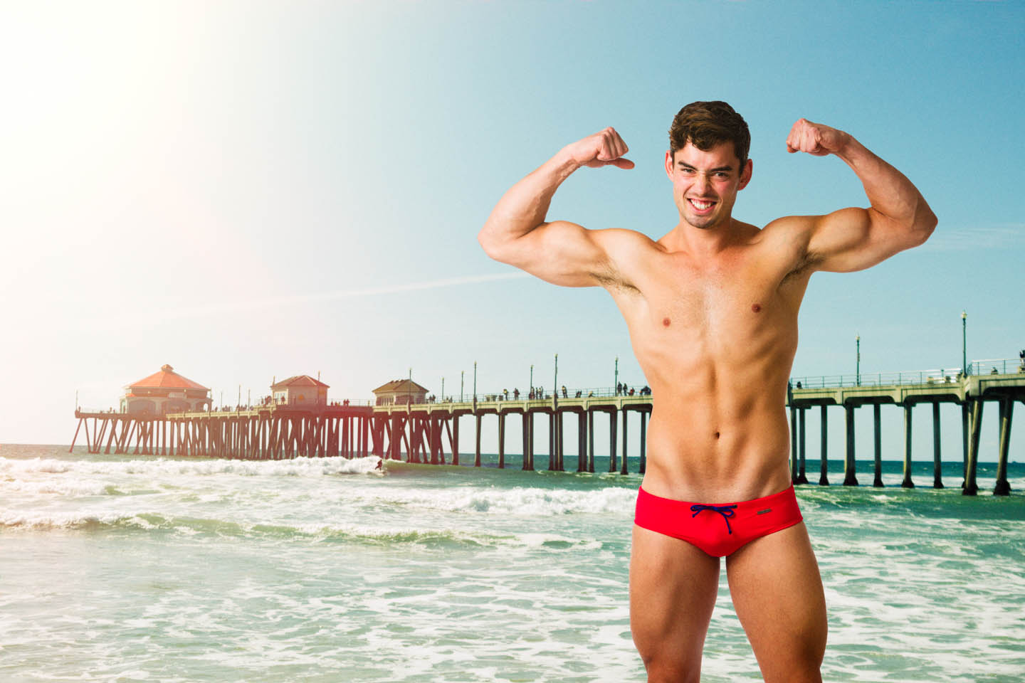 Aronik Zion Swimwear on a California Beach