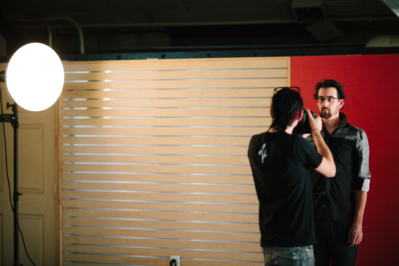 Ryan photographs a male model