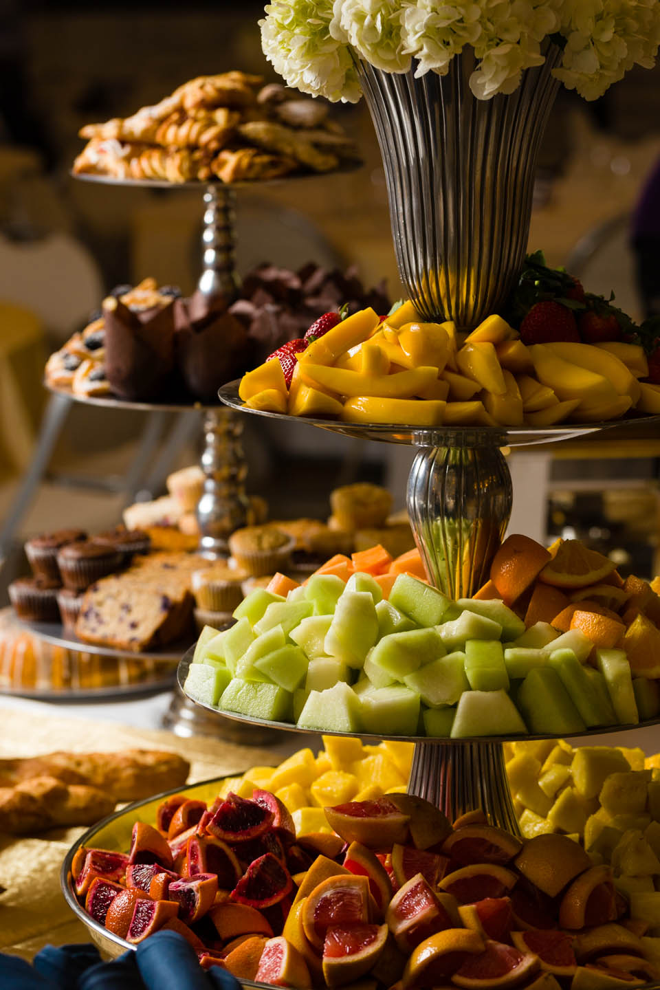 Fruit and Pastry trays are loaded for brunch