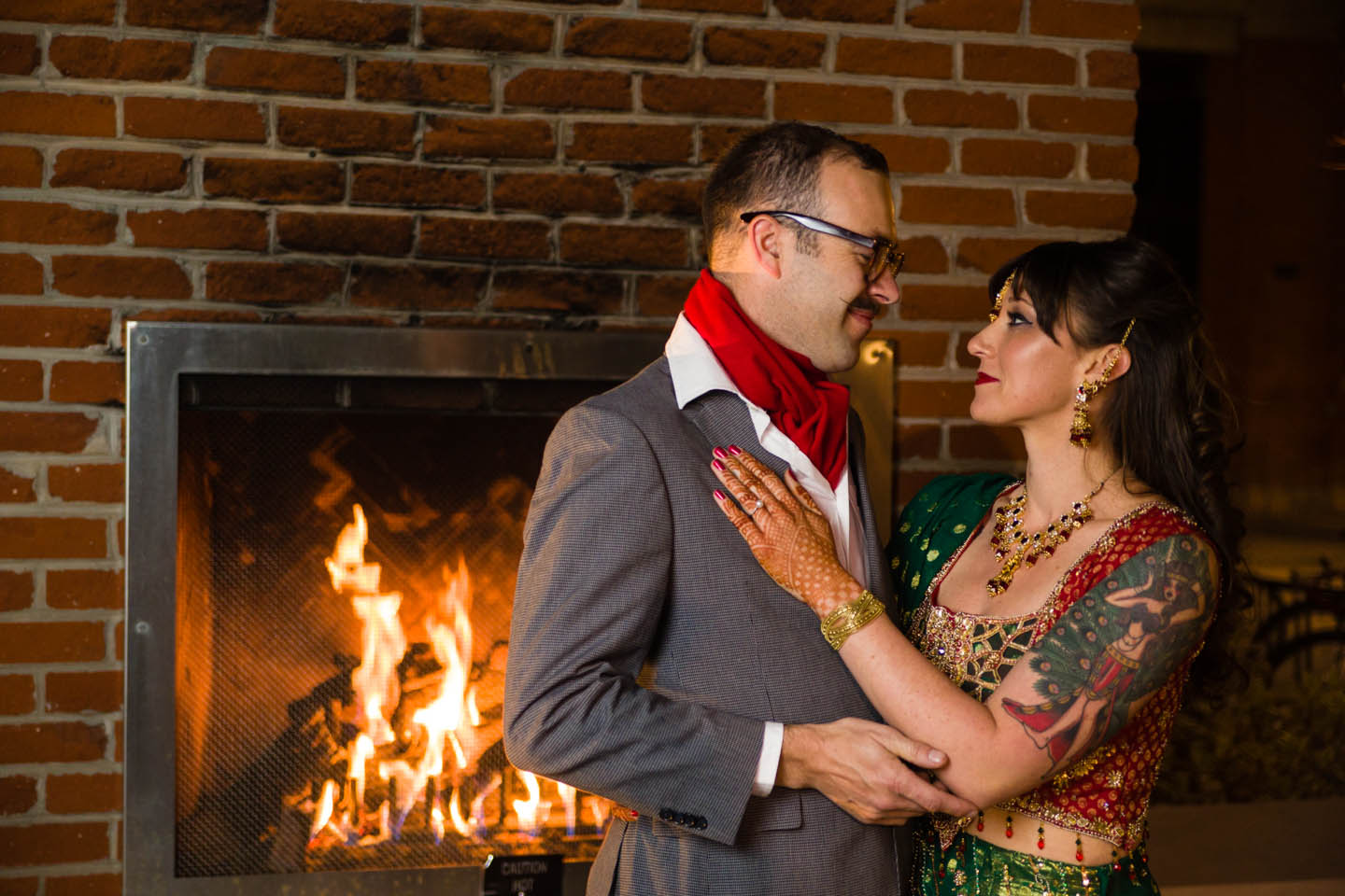 Braving the cold outside for wedding photography