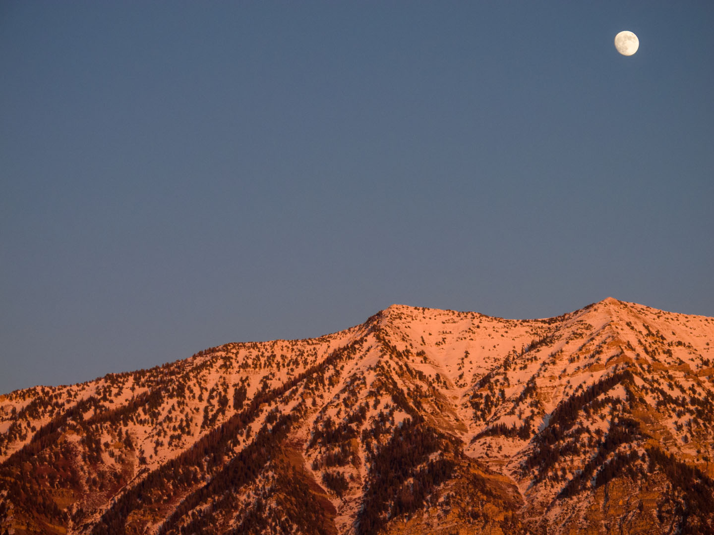 Moon over the Wasatch Mountains