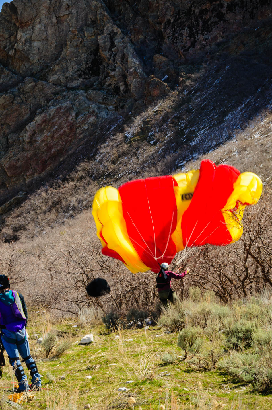 Base jumper in Rock Canyon in Provo Utah