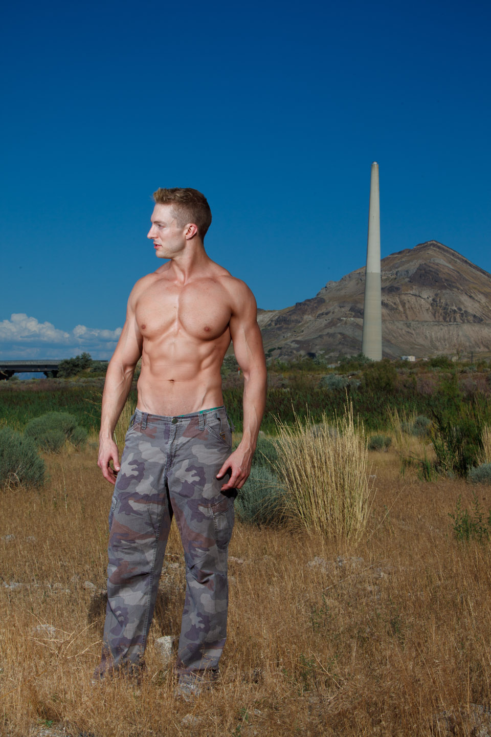 Male model by the great salt lake