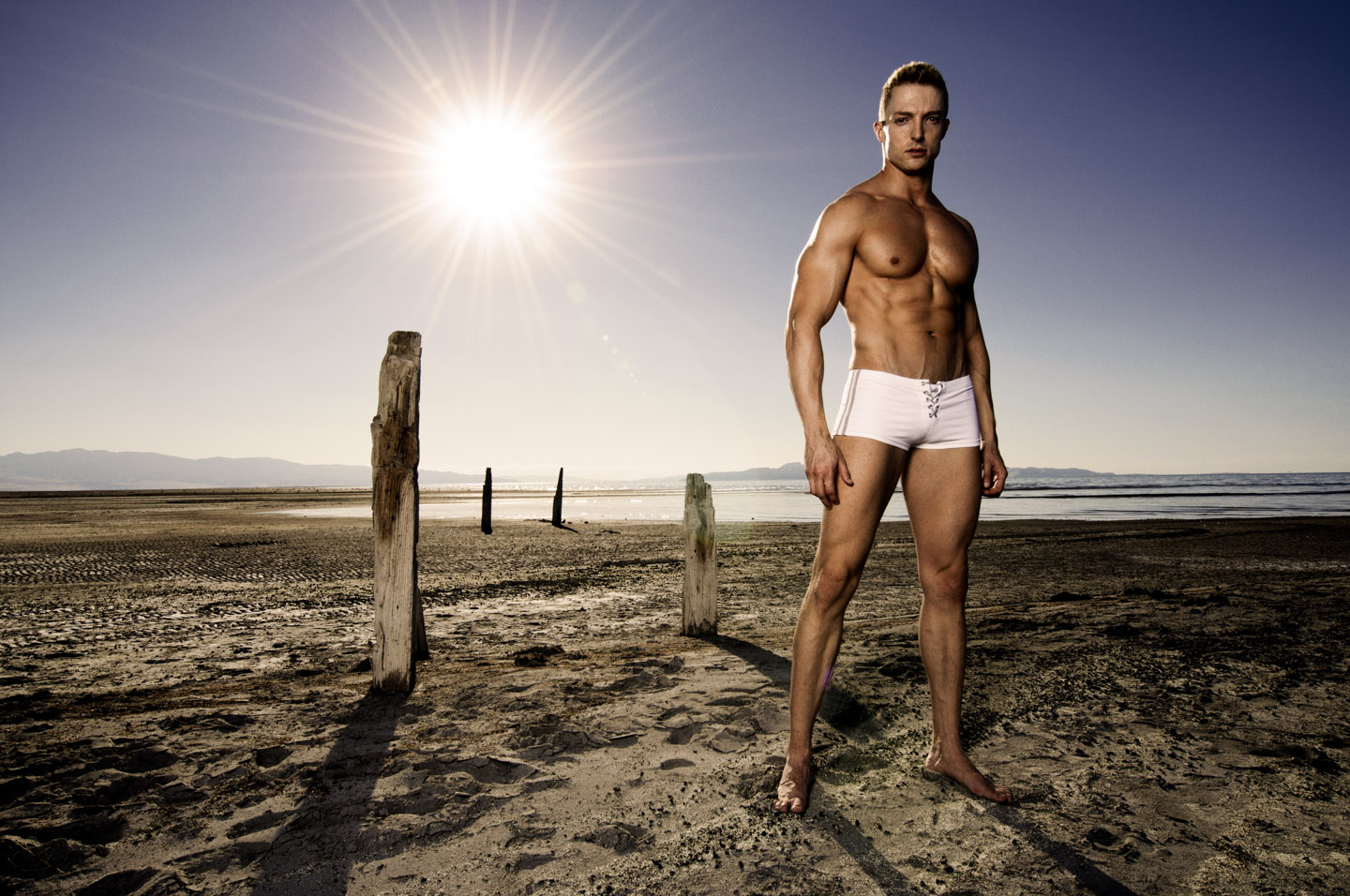 White swimwear on the beach of the great salt lake