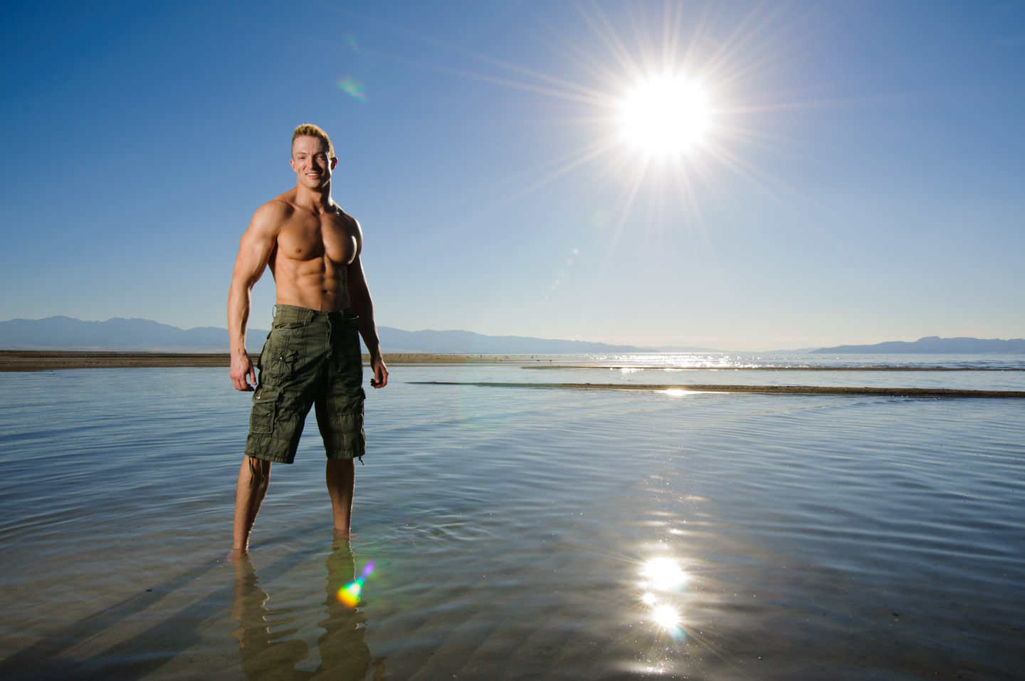 Male model and the sun and the great salt lake