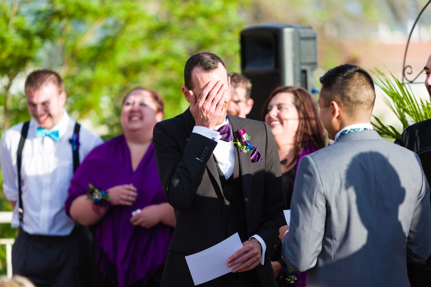 Groom does a facepalm