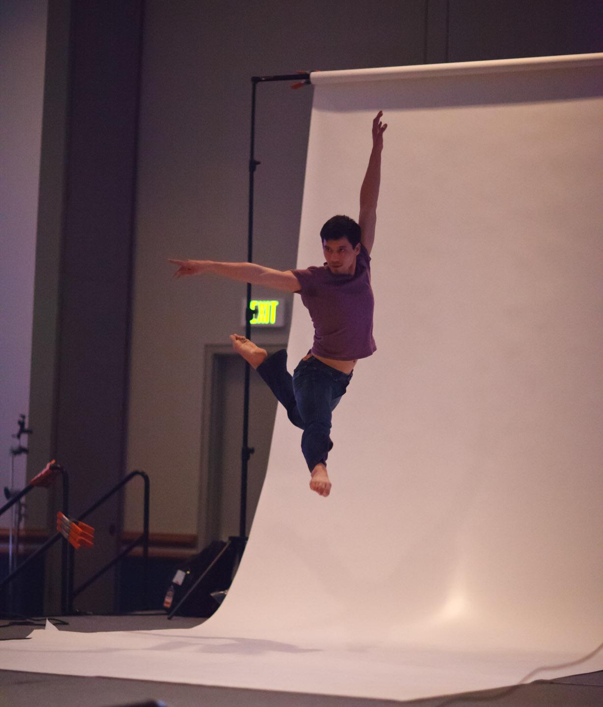 A dancer models for Joe McNally