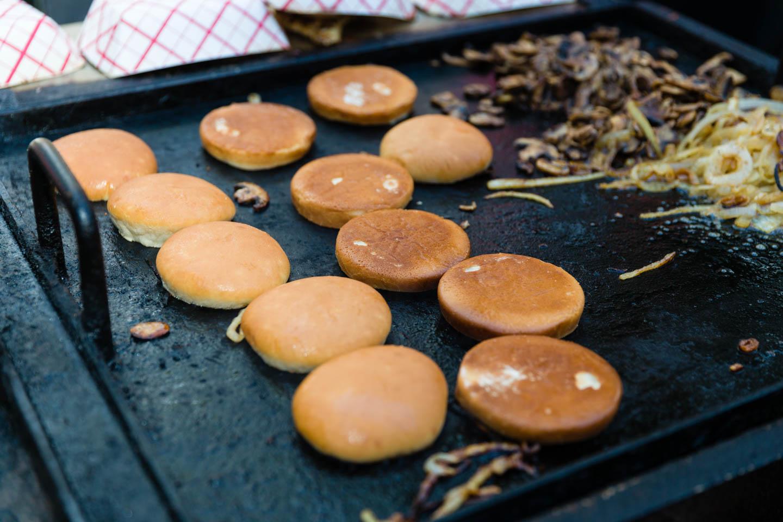 Grilling the hamburger buns
