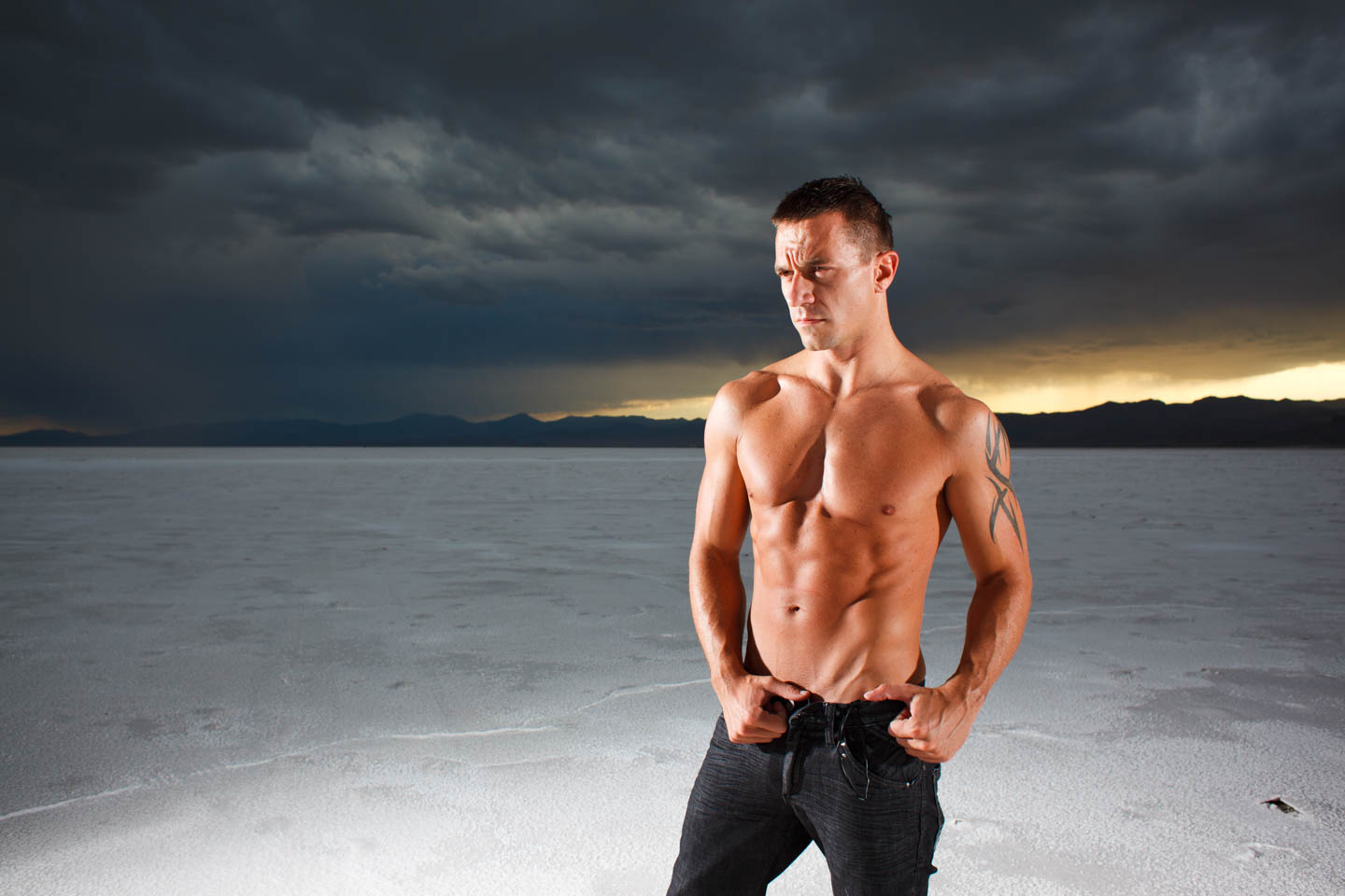 Jacob models for the photo shoot on the bonneville salt flats
