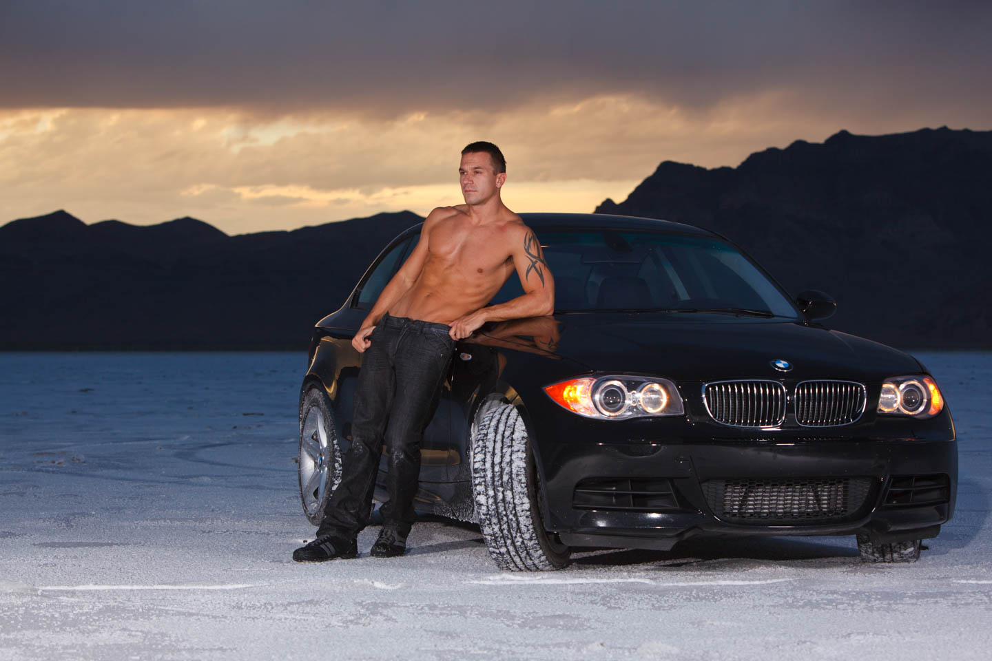 Jacob and his BMW on the Bonneville Salt Flats