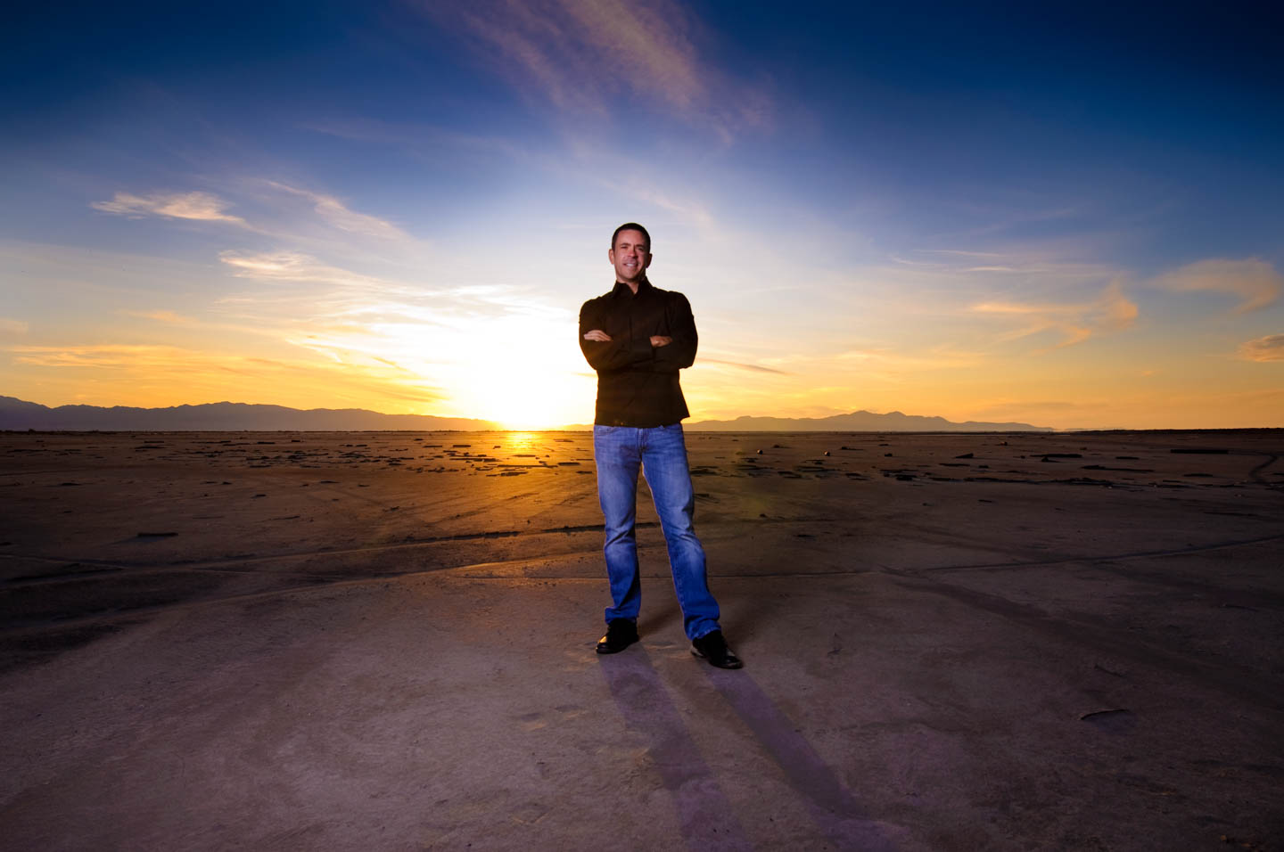 Jay by the Great Salt Lake for a sunset photo shoot