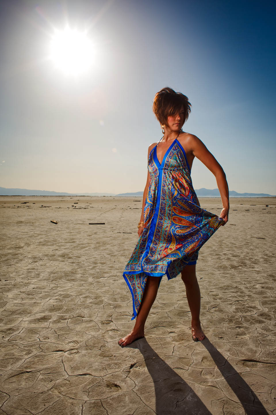 Kristin models a blue dress on the Great Salt Lake
