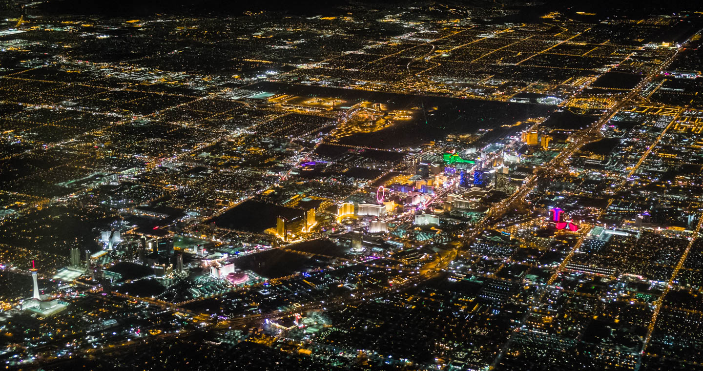 A night aerial view of the Vegas Strip