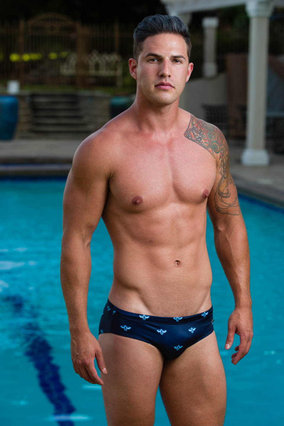 Luke models Aronik Mission Call swimwear