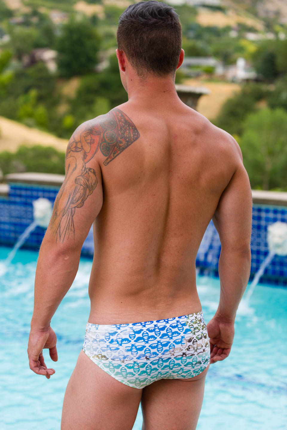 Luke models Aronik Hawaiian Mission swimwear