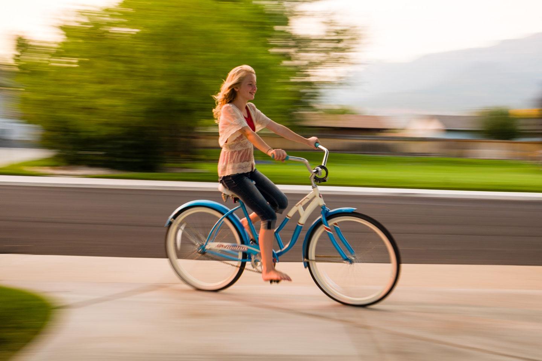Maren rides her bicycle