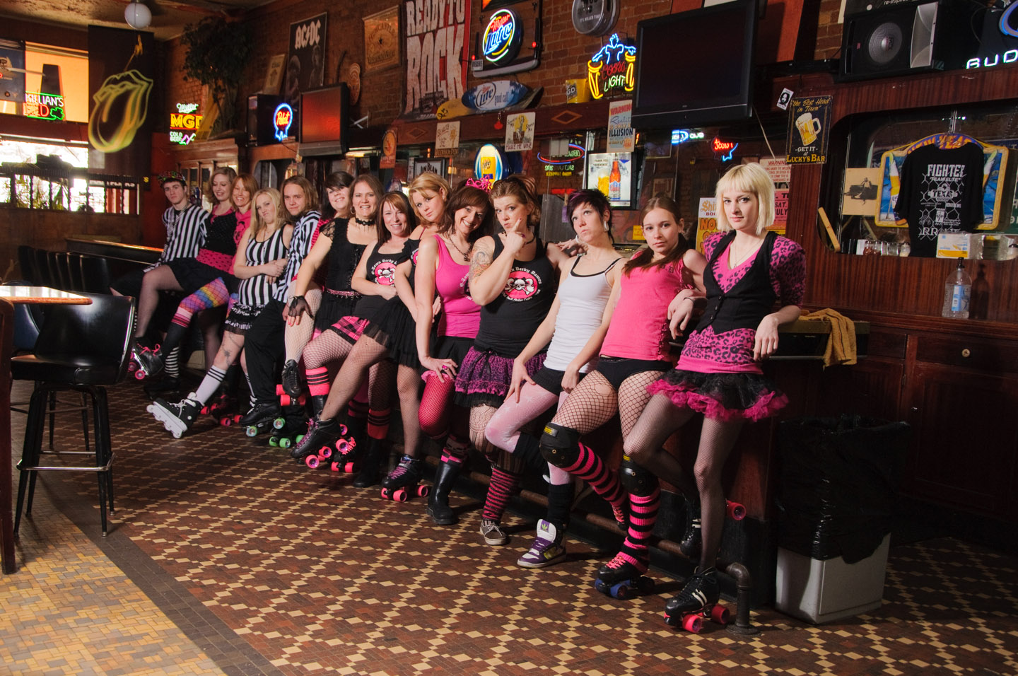 Team photos were created in a bar since the derby location was closed