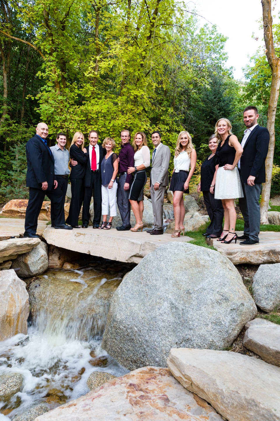The whole team in a photo with a waterfall because why not?