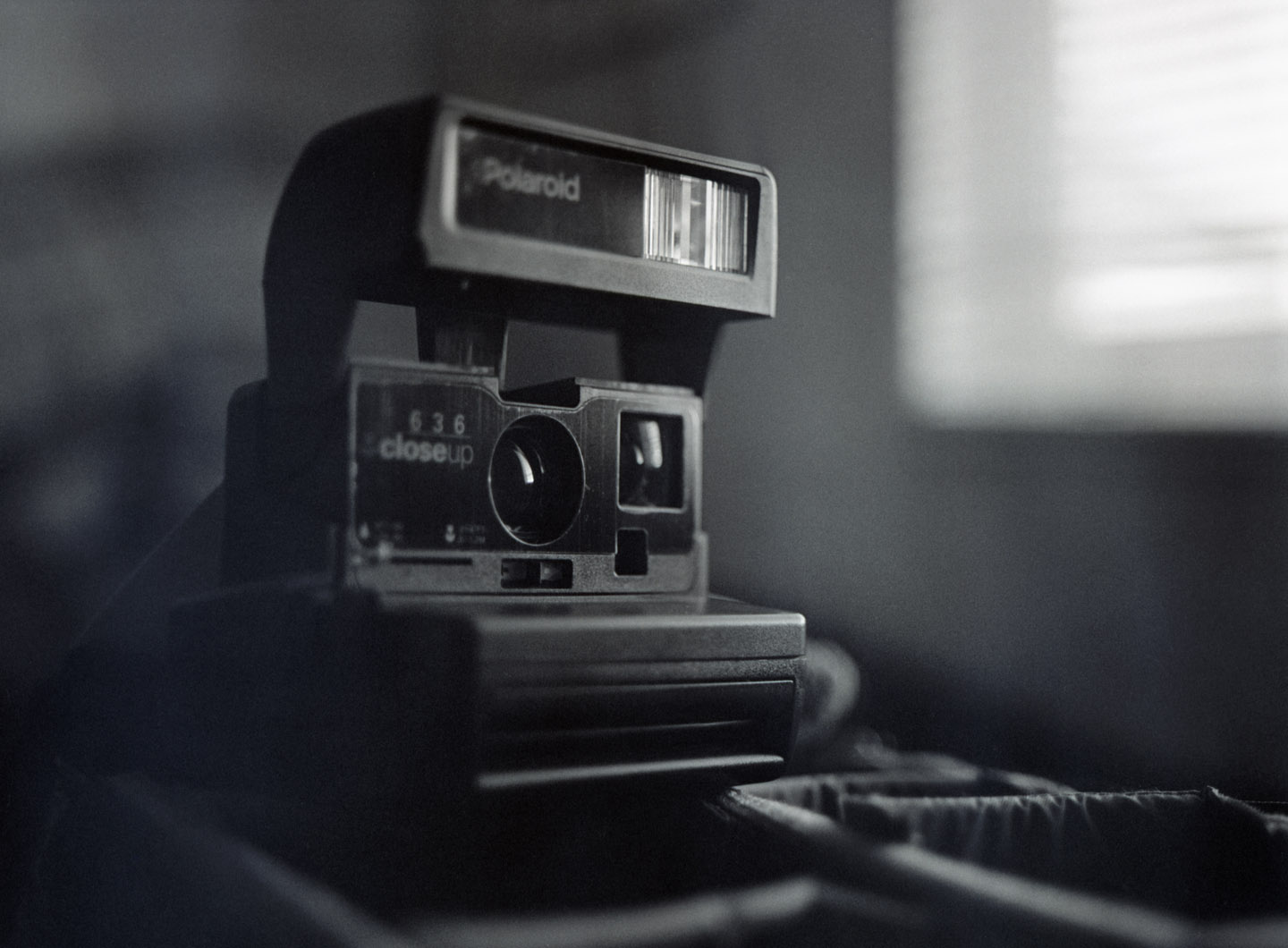 Polaroid camera on medium format film