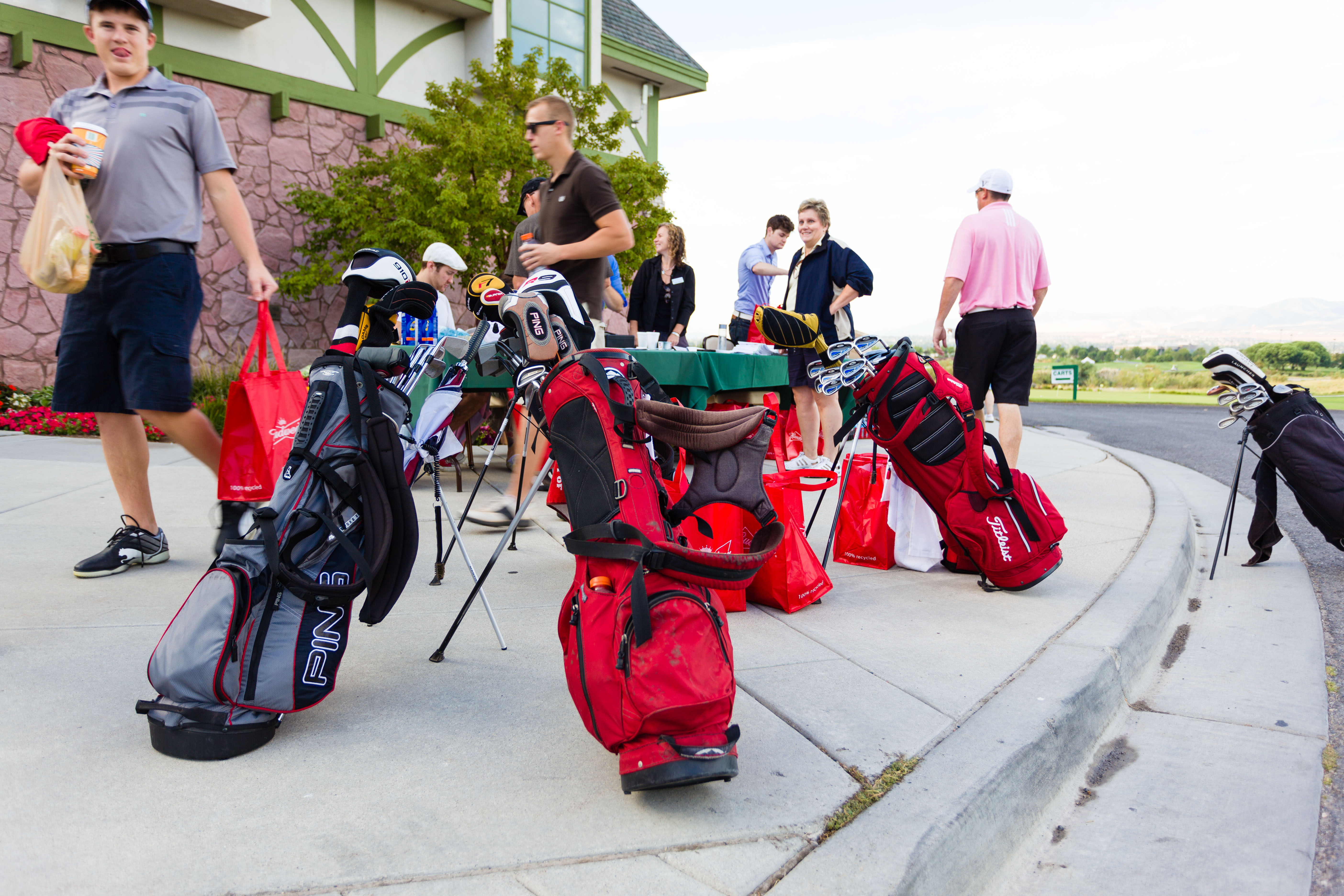 Golf bags are ready for some golf