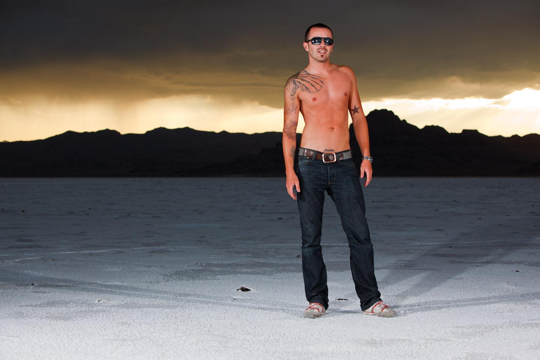 Storms on the Bonneville Salt Flats can mean amazing portraits