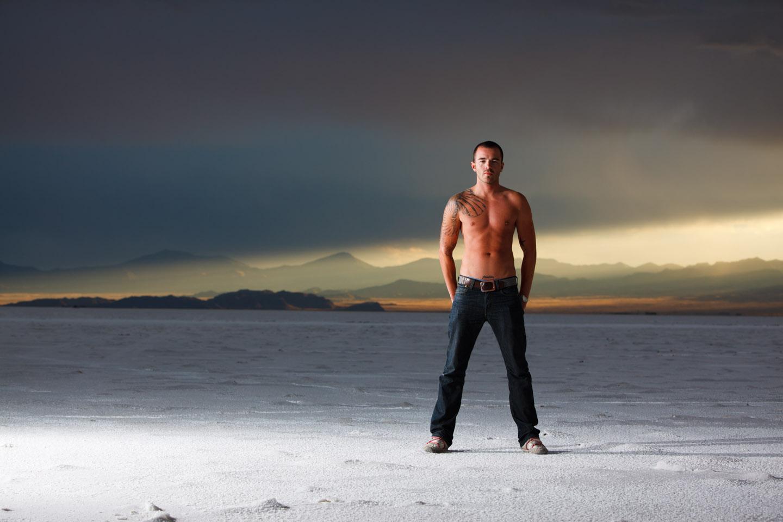 Male models rock the photo shoot on the Bonneville Salt Flats