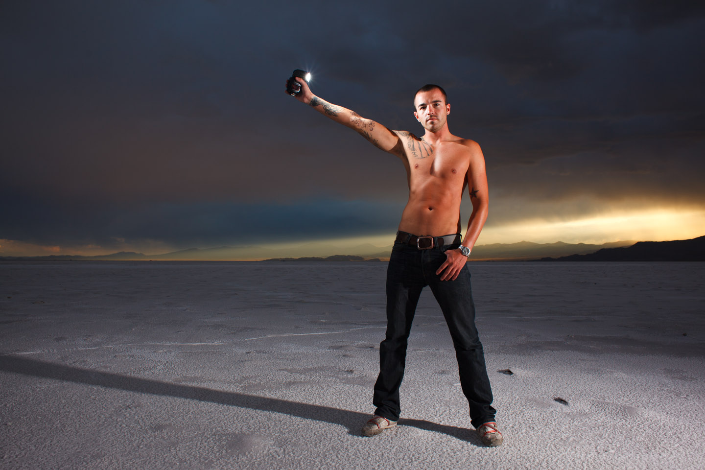 Getting creative with speedlights and male models on the salt flats