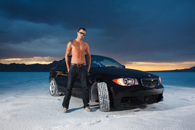 A male model and BMW on the Bonneville Salt Flats