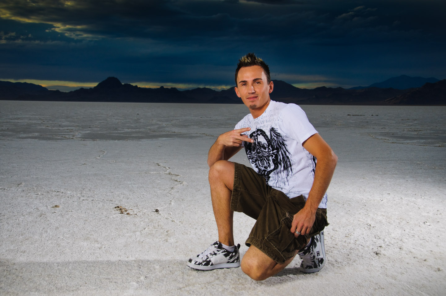 Stephen on the Bonneville Salt Flats