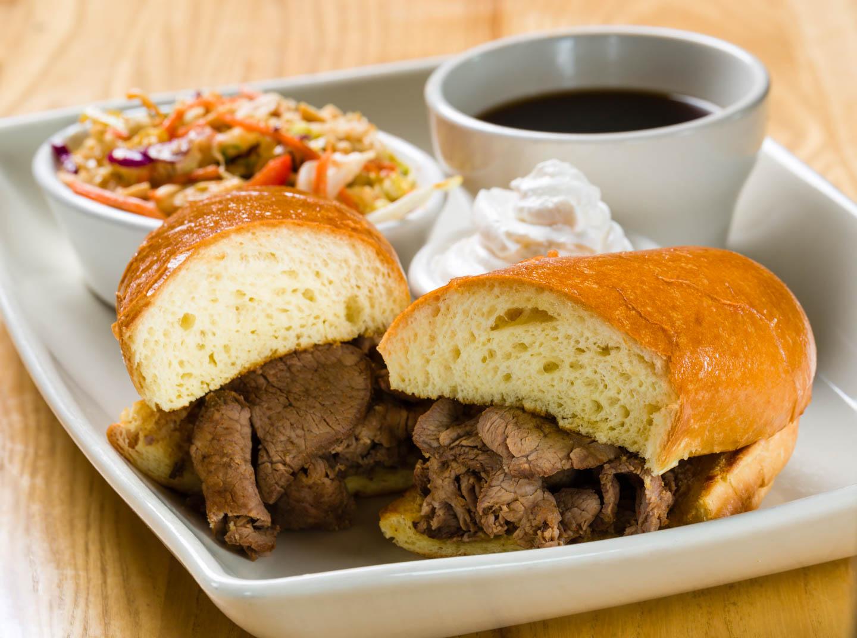 Tri tip dip sandwich