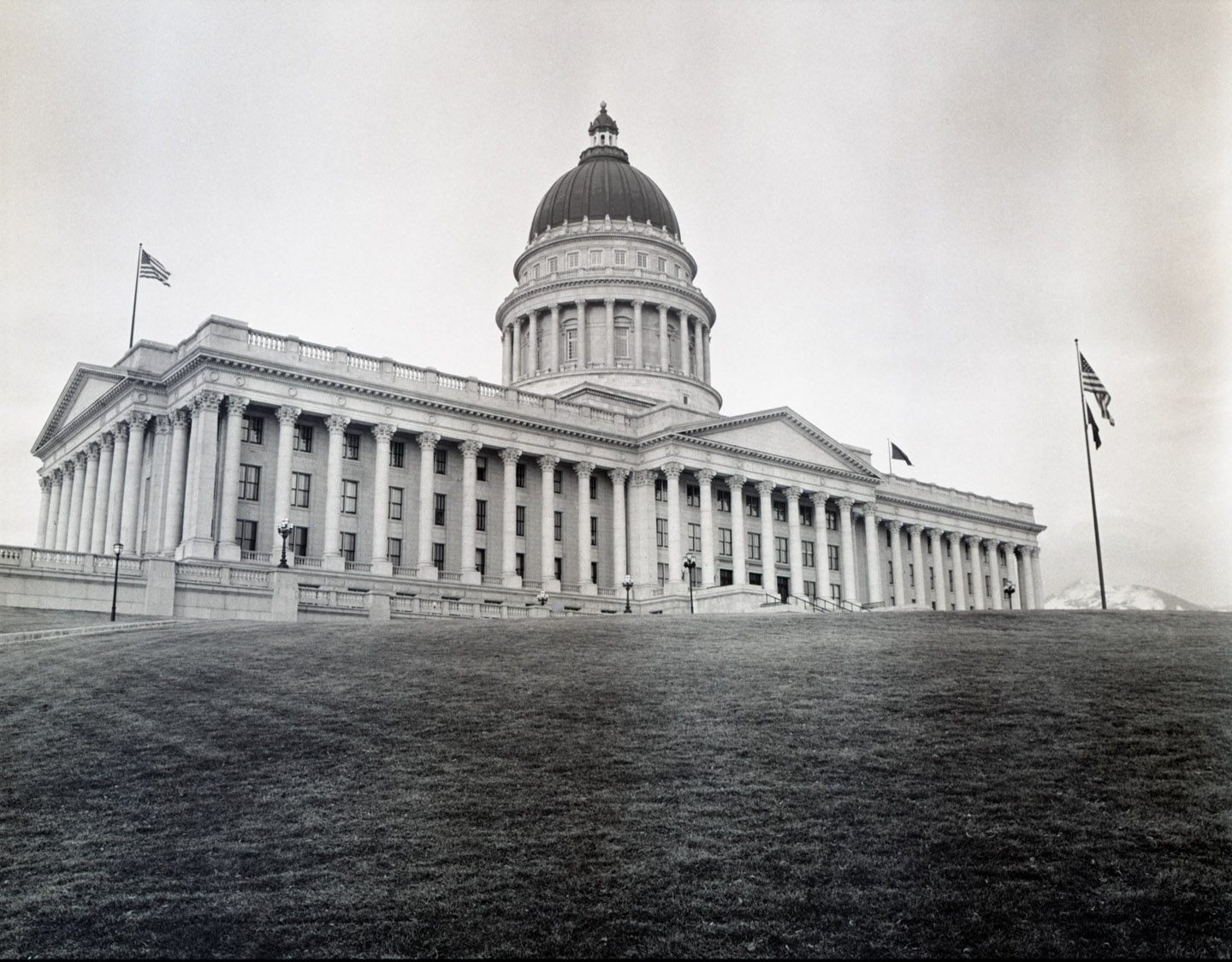 Utah State Capitol on black and white medium format film